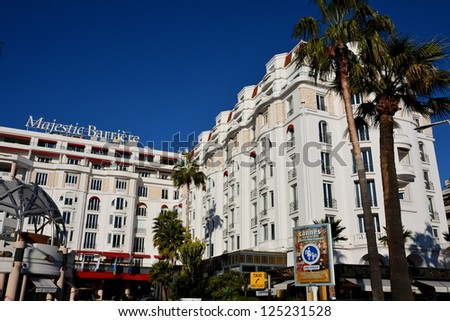 CANNES, FRANCE - JANUARY 17: Majestic palace shown on january 17, 2013 in Cannes, France. Majestic Barriere hotel is a luxury hotel containing 349 rooms, located in the famous festival film town. - stock photo