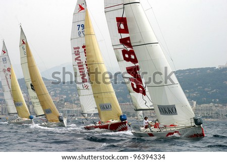 CANNES, FRANCE - JULY 23: Cannes-Istanbul Figaro Yacht Race. Yachts are struggling for first place, July 23, 2006. Cannes, France