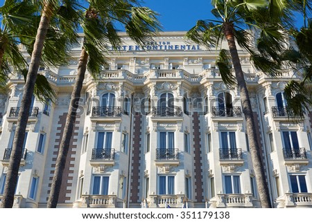 """CANNES, FRANCE - JULY 27: Luxury hotel InterContinental Carlton, located on the famous """"La Croisette"""" boulevard in Cannes, French Riviera on July 27, 2015 in Cannes, France. - stock photo"""