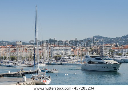Cannes, France - July 19, 2016: View on the city of Cannes and the old harbour. French Riviera, Cannes, France