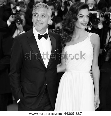 CANNES, FRANCE - MAY 12: Actor George Clooney and his wife Amal Alamuddin Clooney attend the 'Money Monster' premiere during the 69th Cannes Film Festival on May 12, 2016 in Cannes, France.