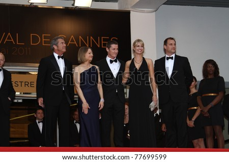 CANNES, FRANCE - MAY 17: Actor Mel Gibson and Jodie Foster attends 'The Beaver' premiere at the Palais des Festivals during the 64th Cannes Film Festival on May 17, 2011 in Cannes, France - stock photo