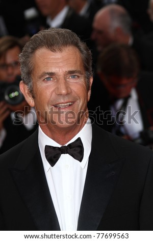 CANNES, FRANCE - MAY 17: Actor Mel Gibson attends 'The Beaver' premiere at the Palais des Festivals during the 64 Cannes Film Festival on May 17, 2011 in Cannes, France - stock photo
