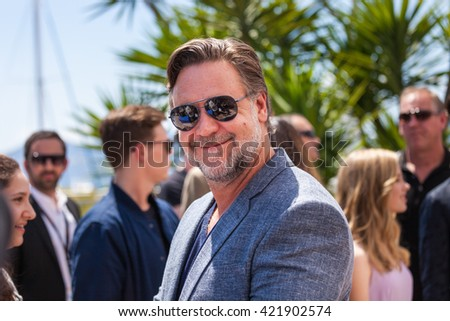 Cannes, France - 15 MAY 2016 - Actor Russell Crowe attends 'The Nice Guys (The Nice Guys-LA Detectives)' - Photocall at the annual 69th Cannes Film Festival at Palais des Festivals - stock photo