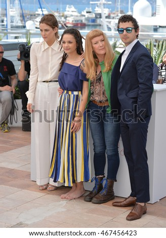 "CANNES, FRANCE - MAY 15, 2016: Actors Riley Keough, Sasha Lane, Shia LaBeouf & director Andrea Arnold at the photocall for ""American Honey"" at the 69th Festival de Cannes."