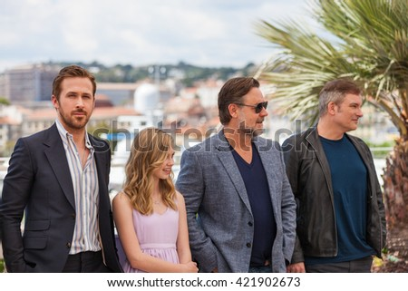 Cannes, France - 15 MAY 2016 - Actors Ryan Gosling, Angourie Rice and Russell Crowe attend 'The Nice Guys (The Nice Guys-LA Detectives)' - Photocall at the annual 69th Cannes Film Festival