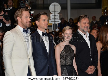 "CANNES, FRANCE - MAY 15, 2016: Actors Ryan Gosling, Matt Bomer, Angourie Rice & Russell Crowe at the gala premiere for ""The Nice Guys"" at the 69th Festival de Cannes."