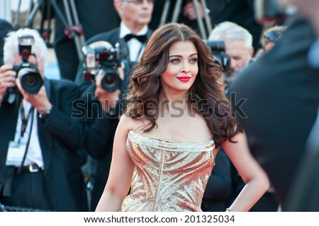 CANNES, FRANCE - MAY 20, 2014: Actress Aishwarya Rai walks down the red carpet during the 67th Annual Cannes Film Festival on May 20, 2014 in Cannes, France. - stock photo