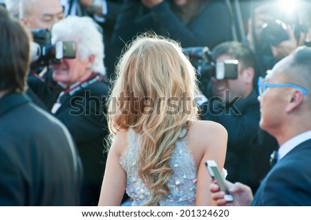 CANNES, FRANCE - MAY 15, 2014: Actress Blake Lively walks down the red carpet during the 67th Annual Cannes Film Festival on May 15, 2014 in Cannes, France. - stock photo