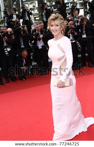 CANNES, FRANCE - MAY 12: Actress Jane Fonda arrives at the 'Sleeping Beauty' premiere during the 64th Annual Cannes Film Festival at the Palais des Festivals on May 12, 2011 in Cannes, France - stock photo