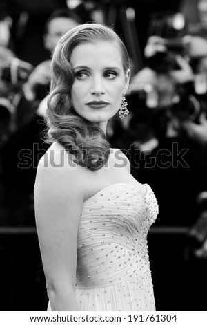 CANNES, FRANCE - MAY 18 : Actress Jessica Chastain attends the premiere of of 'Madagascar 3' during the 65th Cannes film festival on May 18, 2012 in Cannes, France. - stock photo