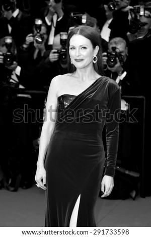 CANNES, FRANCE- MAY 14: Actress Julianne Moore attends the ' Mad Max Fury Road' Premiere during the 68th Cannes Film Festival on May 14, 2015 in Cannes, France. - stock photo