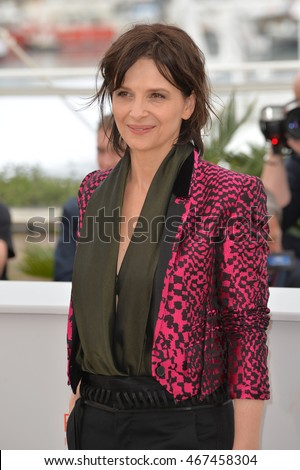 "CANNES, FRANCE - MAY 13, 2016: Actress Juliette Binoche at the photocall for ""Slack Bay"" (""Ma Loute"") at the 69th Festival de Cannes."