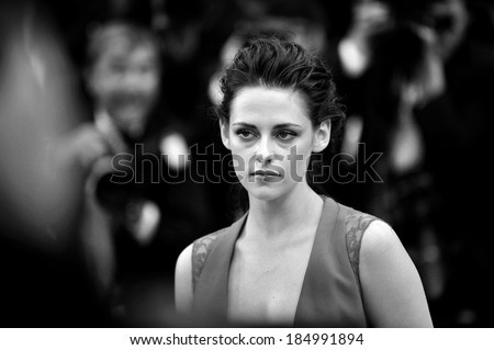 CANNES, FRANCE - MAY 25 : Actress Kristen Stewart  arrives for the screening of the film 'Cosmopolis' presented in competition at the 65th Cannes film festival on May 25, 2012 in Cannes. - stock photo
