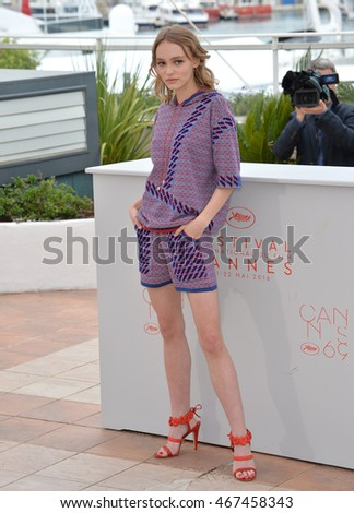 "CANNES, FRANCE - MAY 13, 2016: Actress Lily-Rose Depp (daughter of Johnny Depp & Vanessa Paradis) at the photocall for ""The Dancer"" at the 69th Festival de Cannes."