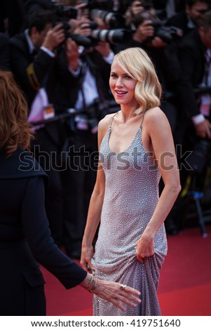Cannes, France - 12 MAY 2016 - Actress Naomi Watts attends the screening of 'Money Monster' at the annual 69th Cannes Film Festival at Palais des Festivals - stock photo