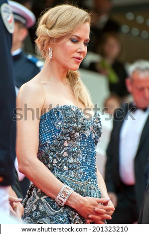 CANNES, FRANCE - MAY 14, 2014: Actress Nicole Kidman walks down the red carpet during the 67th Annual Cannes Film Festival on May 14, 2014 in Cannes, France. - stock photo