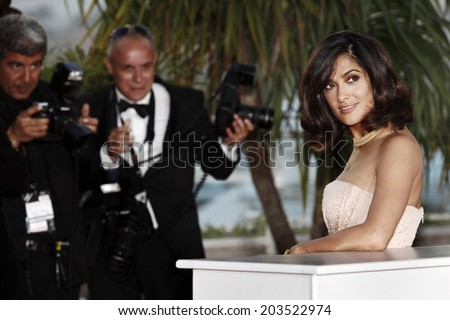 CANNES, FRANCE - MAY 23: Actress Salma Hayek attends the Palme d'Or Award Ceremony photo-call  during the 63rd Cannes Film Festival on May 23, 2010 in Cannes, France. - stock photo