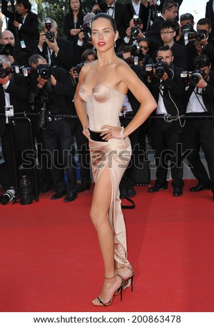 "CANNES, FRANCE - MAY 18, 2014: Adriana Lima at the gala premiere of ""The Homesman"" at the 67th Festival de Cannes.  - stock photo"