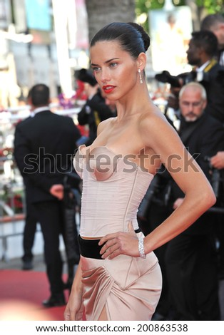 "CANNES, FRANCE - MAY 18, 2014: Adriana Lima at the gala premiere of ""The Homesman"" at the 67th Festival de Cannes."