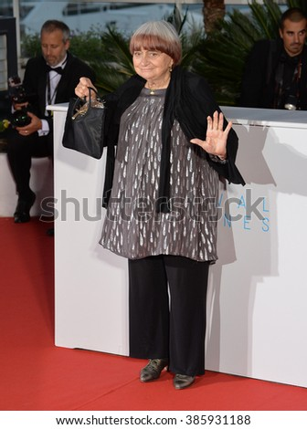 CANNES, FRANCE - MAY 24, 2015: Agnes Varda - winner of the honorary Palme d'Or - at the winners' photocall at the 68th Festival de Cannes.