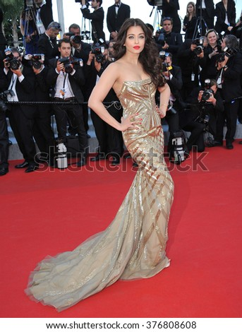 """CANNES, FRANCE - MAY 20, 2014: Aishwarya Rai at the gala premiere of """"Two Days, One Night"""" at the 67th Festival de Cannes. - stock photo"""