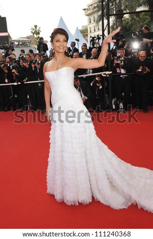 """CANNES, FRANCE - MAY 13, 2009: Aishwarya Rai at the opening night gala screening of """"Up"""" at the 62nd Festival de Cannes. - stock photo"""