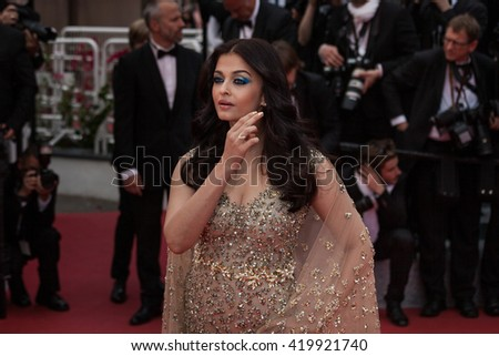 Cannes, France - 13 MAY 2016 - Aishwarya Rai attends the 'Slack Bay (Ma Loute)' premiere during the 69th annual Cannes Film Festival - stock photo