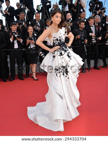 """CANNES, FRANCE - MAY 20, 2015: Aishwarya Rai Bachchan at the gala premiere for """"Youth"""" at the 68th Festival de Cannes. - stock photo"""
