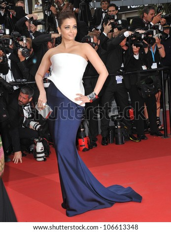 "CANNES, FRANCE - MAY 12, 2011: Aishwarya Rai Bachchan at the premiere of ""Sleeping Beauty"" in competition at the 64th Festival de Cannes. May 12, 2011  Cannes, France"