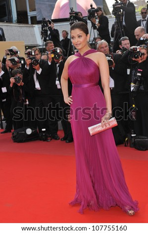 """CANNES, FRANCE - MAY 14, 2010: Aishwarya Rai Bachchan at the premiere screening of """"Wall Street: Money Never Sleeps"""" at the 63rd Festival de Cannes. - stock photo"""