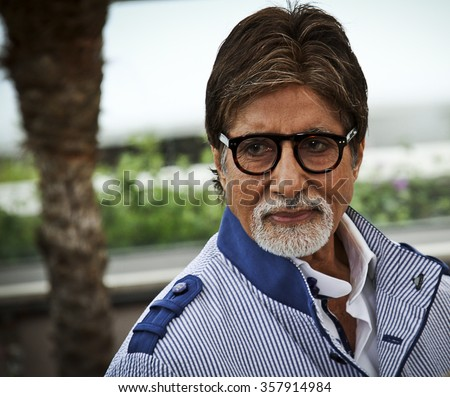 CANNES, FRANCE - MAY 15: Amitabh Bachchan attends 'The Great Gatsby' photocall during the 66th Annual Cannes Film Festival at the Palais des Festivals on May 15, 2013 in Cannes, France. - stock photo