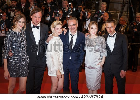 Cannes, France - 17 MAY 2016 - Anders Danielsen Lie,  Nora von Waldstaetten, Olivier Assayas, Kristen Stewart, Lars Eidinger and Sigrid Bouaziz attend 'Personal Shopper' premiere - 69 Cannes Festival - stock photo