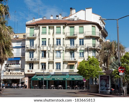 CANNES, FRANCE - MAY 6: Architecture of Cannes along the Croisette on May 6, 2013 in Cannes, France. City founded by the Romans in 42 BC.