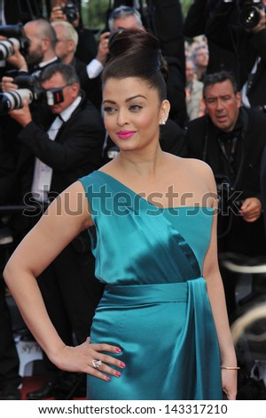 "CANNES, FRANCE - MAY 21, 2013: Ashwarya Rai at gala premiere for ""Behind the Candelabra"" at the 66th Festival de Cannes."