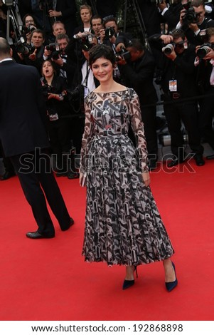 CANNES, FRANCE - MAY 14: Audrey Tautou attends the opening ceremony and 'Grace of Monaco' premiere at the 67th Annual Cannes Film Festival on May 14, 2014 in Cannes, France. - stock photo