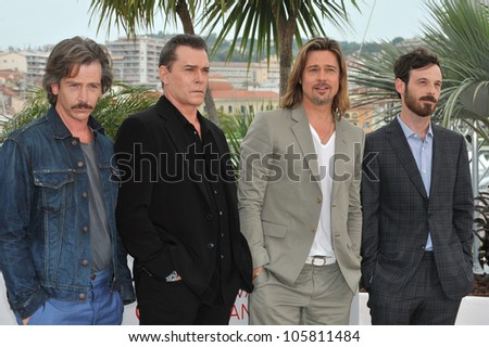 "CANNES, FRANCE - MAY 22, 2012: Ben Mendelsohn, Ray Liotta, Brad Pitt & Scoot McNairy at photocall for ""Killing Them Softly"" in competition at the 65th Festival de Cannes. May 22, 2012  Cannes, France - stock photo"