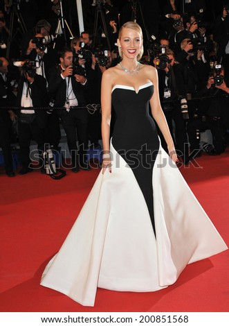 "CANNES, FRANCE - MAY 16, 2014: Blake Lively at the gala premiere of ""Captives"" at the 67th Festival de Cannes.  - stock photo"