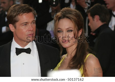 CANNES, FRANCE - MAY 24: Brad Pitt  and Angelina Jolie attend the premiere for the film 'Ocean's Thirteen' at the Palais  during the 60th  Cannes Film Festival on May 24, 2007 in Cannes, France - stock photo