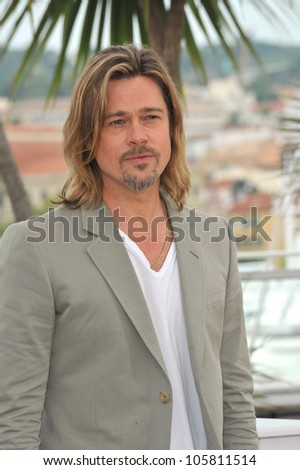 "CANNES, FRANCE - MAY 22, 2012: Brad Pitt at photocall for his new movie ""Killing Them Softly"" in competition at the 65th Festival de Cannes. May 22, 2012  Cannes, France"