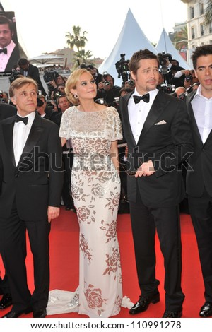 """CANNES, FRANCE - MAY 20, 2009: Brad Pitt & Diane Kruger at the premiere of their new movie """"Inglourious Basterds"""" in competition at the 62nd Festival de Cannes. - stock photo"""