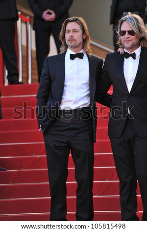 "CANNES, FRANCE - MAY 22, 2012: Brad Pitt & director Andrew Dominik at the gala screening of ""Killing Them Softly"" in competition at the 65th Festival de Cannes. May 22, 2012  Cannes, France - stock photo"