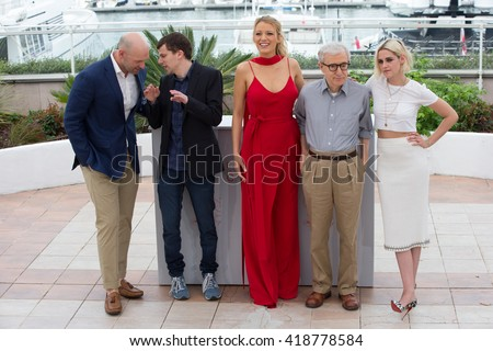 CANNES, FRANCE - MAY 11: C. Stoll, J. Eisenberg, B. Lively, Woody Allen, Kristen Stewart  'Cafe Society' photocall 69th Cannes Film Festival at Palais des Festivals on May 11, 2016 in Cannes, France. - stock photo