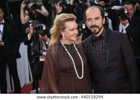 CANNES, FRANCE - MAY 11:  Caroline Scheufele and Alexis Veller attend the 'Cafe Society' premiere during the Cannes Film Festival at the Palais  on May 11, 2016 in Cannes, France. - stock photo