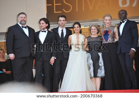 "CANNES, FRANCE - MAY 16, 2014: Cate Blanchett, America Ferrera, Djimon Hounsou, Kit Harington, Jay Baruchel, Dean Deblois, Jeffrey Katzenberg & Bonnie Arnold at prem of ""How To Train Your Dragon 2""  - stock photo"