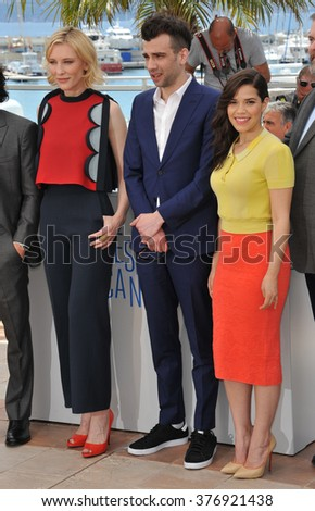 "CANNES, FRANCE - MAY 16, 2014: Cate Blanchett, Jay Baruchel & America Ferrera at the photocall for their movie ""How to Train Your Dragon 2"" at the 67th Festival de Cannes."