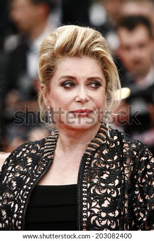 CANNES, FRANCE - MAY 22: Catherine Deneuve attends the Palme D'Or Winners Dinner at the Palais des Festivals during the 64th Cannes Film Festival on May 22, 2011 in Cannes, France - stock photo