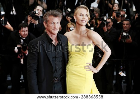 CANNES, FRANCE- MAY 14: Charlize Theron and Sean Penn attend the 'Mad Max : Fury Road' premiere during the 68th Cannes Film Festival on May 14, 2015 in Cannes, France. - stock photo