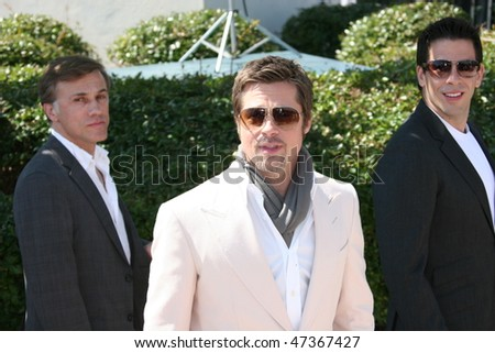 CANNES, FRANCE - MAY 20:  Christoph Waltz,  Brad Pitt, Eli Roth attend the ''Inglourious Basterds' Photo Call at the Palais  during the 62 Cannes Film Festival on May 20, 2009 in Cannes, France. - stock photo