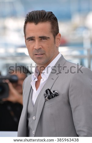 """CANNES, FRANCE - MAY 15, 2015: Colin Farrell at the photocall for his movie """"The Lobster"""" at the 68th Festival de Cannes. - stock photo"""